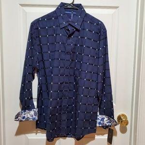 NWT Tasso Elba Contrasting Cuff Button Up Shirt